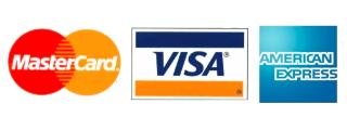 Logos for Visa, Mastercard, and American Express Cards